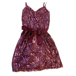 Express Purple Sequin Party Dress with Belt sz S
